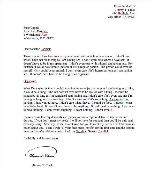 jimmy crack's letter